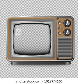 vector retro television mock up isolate on transparent grid