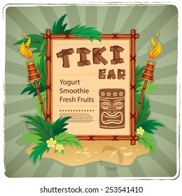 Vector Retro Tiki bar sign for your business