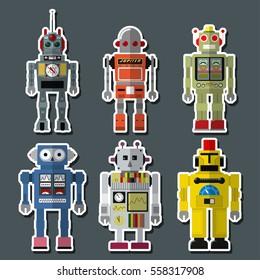 Vector Retro Toy Robots Set Retro-futurism design from the Fifties, Sixties