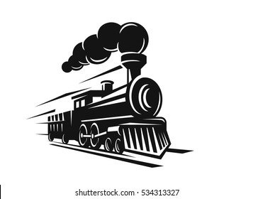 vector retro train logo on white background