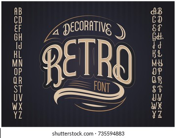 Vector retro typeface. Vector font