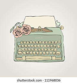 Vector retro typewriter with roses