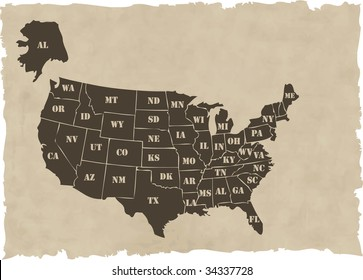 the vector retro usa map