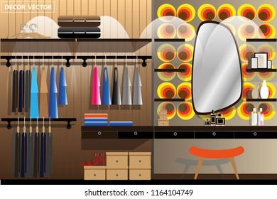vector retro vintage clothing room interior decor