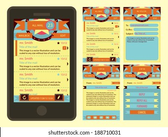 Vector retro vintage email interface form template for phone. Collection for design. Smartphone and tablet graphic user interface.
