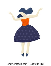 Vector retro vintage flat illustration: dancing girl or woman isolated. Great as Dancing class icon.