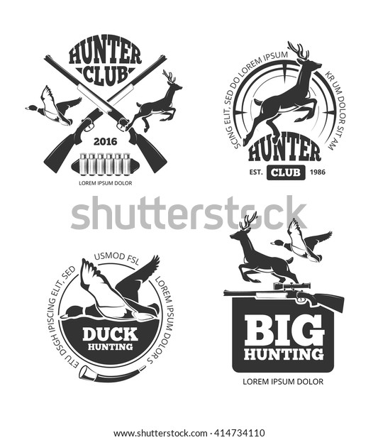 Vector Retro Vintage Hunting Labels Emblems Stock Vector