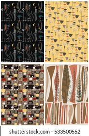 Vector Retro Vintage Pattern Wallpapers Set from the Fifties, Sixties Googie Populuxe Collection