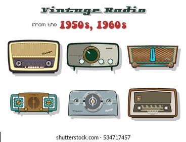 Vector Retro Vintage Radio Set from the Fifties, Sixties
