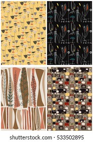 Vector Retro Vintage Wallpapers Set Old Patterns from the Fifties, Sixties