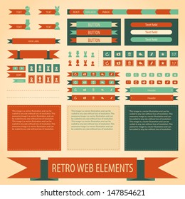 Vector retro vintage web elements set. Labels, banners and emblems. Collection for design.