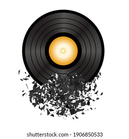 Vector Retro Vinyl Disc Isolated on White Background. Damaged Musical Symbol. Plastic Explode with a lot of Parts. Explosion with Particles.