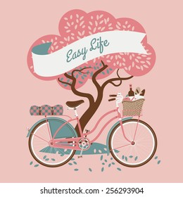 Vector retro web banner on easy life with tree and vintage bicycle with dress guard, wicker basket full of food like wine bottle, bread and apple and folded blanket on rear rack, pink background