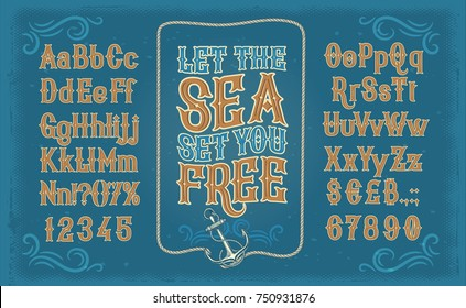 Vector retro white serif font, the Latin alphabet, numbers and symbols on blue background in frame from the ships anchor and rope. Vintage signboard for yacht club, advertising of sailing competitions