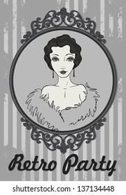 Vector Retro Woman in Frame. It can be used for Card of Party, Congratulation, Invitation