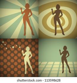 Vector Retro Women Silhouettes