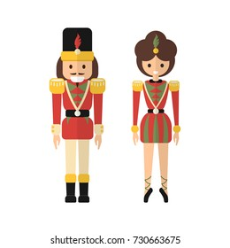 Vector retro Xmas decoration as Nutcracker and Ballerina princess in traditional Christmas colors - red and green - isolated on white in flat graphic modern style