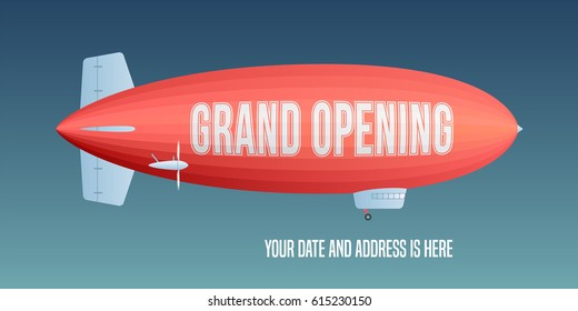 Vector retro zeppelin with grand opening advertising on it. Store opening soon design element for poster or banner