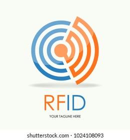 Vector of rfid logo Radio Frequency Identification symbol or icon