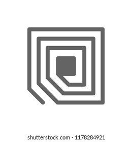 Vector RFID tag chip line icon. Symbol and sign illustration design. Isolated on white background