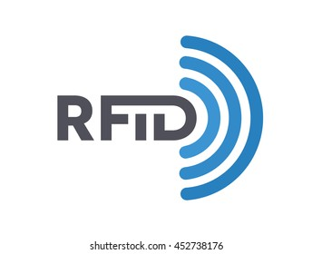 Vector RFID tag icon or logo. Radio-frequency identification symbol