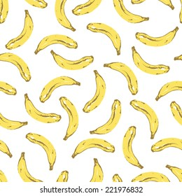 Vector RGB seamless banana pattern. Background is on a separate layer, so you can easily change its color