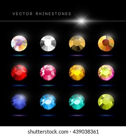 Vector rhinestone gem mock up. Jewelry crystal stone diamond shining illustration. Close up. Rhinestone isolated. Gradient soft light. Glass gem mock illustration. Jewelry advertising, pattern element