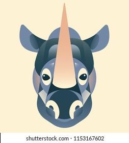 Vector rhinoceros illustration, geometric animal illustration, cute animal, rhinoceros in pastel colours