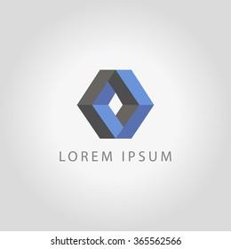 Vector rhombus abstract logo, icon. Geometric shape