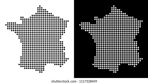 Vector rhombus pixel France map. Abstract geographical maps in black and white colors on white and black backgrounds. France map composed of rhombic point grid.