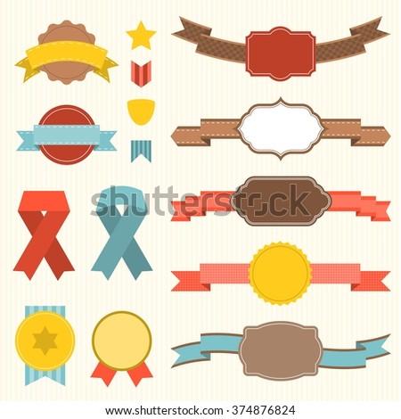Vector Ribbon Badges Set 3 Stock Vector (Royalty Free) 374876824