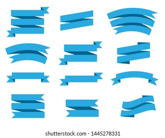 Vector ribbon banners isolated on white background. Blue tapes.