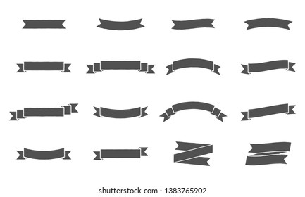 Vector ribbon banners. Vintage design of ribbon banners. Set of 16 grey ribbons banners.