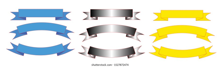 Vector ribbon flat ribbon isolated on a white background, llustration set of 3 colored stripes,