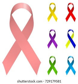 Vector ribbon holiday set. Bright colorful Icon logo collection isolated on white background. Breast cancer awareness, world aids day, down syndrome symbols.