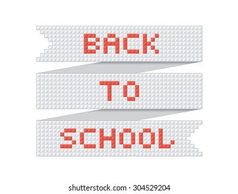 Vector ribbon with the inscription back to school in constructor style.