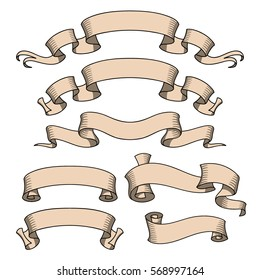 Vector ribbon set. Banner isolated shapes illustration of gift and accessory. Celebration stickers and decorations. Label, badge collection.