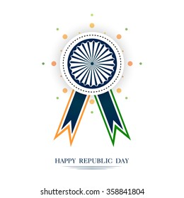 vector ribbon style Asoka wheel illustration for republic day , 26 january