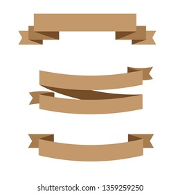 Vector ribbons banners isolated on White background. Set brown ribbons - Vector