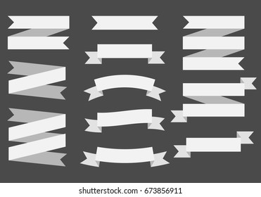 Vector ribbons banners isolated on black Background. White.