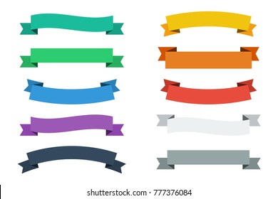 Vector ribbons in flat colors. Vector banners ribbons. Set of 10 ribbons