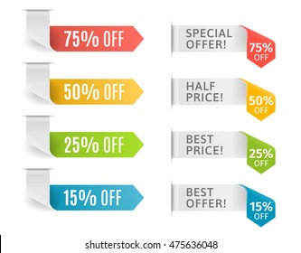 Vector ribbons with offer and price tags. Vector illustration