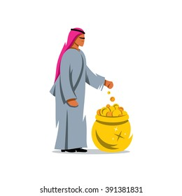 Vector Rich man from the UAE Cartoon Illustration.Success Arabic Business. Saudi Sheikh. Arab throws a coin into the pot of treasure. Branding Identity Corporate Logo isolated on a white background