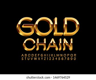 Vector rich sign Gold Chain. Uppercase elite Font. Luxury 3D Alphabet Letters and Numbers