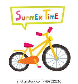 Vector riding yellow bike isolated on white background. Cartoon bike for boy  or girl. d493a1fa0d5e