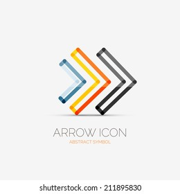 Vector right arrows company logo design, business symbol concept, minimal line style