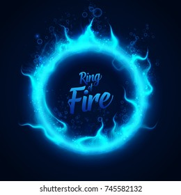 Vector ring of fairy blue underwater fire with bubbles. Procedural fire flames burn around glowing circle. Fire burning circle on a black background illustration.  eps 10