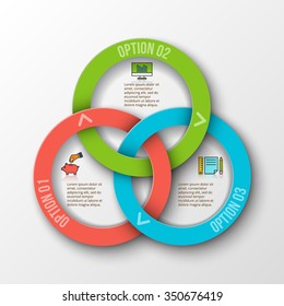 Vector rings infographic. Template for cycle diagram, graph, presentation and round chart. Business concept with 3 options, parts, steps or processes. Data visualization.