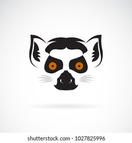 Vector of ring-tailed lemur head design on white background. Wild Animals. Easy editable layered vector illustration.