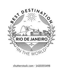 Vector Rio de Janeiro City Badge, Linear Style